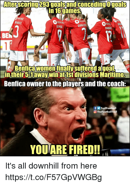 Downhill: After scoring 293 goals and conceding O goals  in 16games  GEYSE  TAIARA  BEN  Benfica women finallysuftered a goal  intheir5-1away winat 1st divisions Maritimo:  Benfica owner to the players and the coach:  TrollFootball  OTheFootballTroll  YOU ARE FIRED!! It's all downhill from here https://t.co/F57GpVWGBg