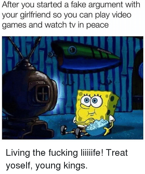 Fake, Fucking, and Memes: After you started a fake argument with  your girlfriend so you can play video  games and watch tv in peace  oc Living the fucking liiiiife! Treat yoself, young kings.