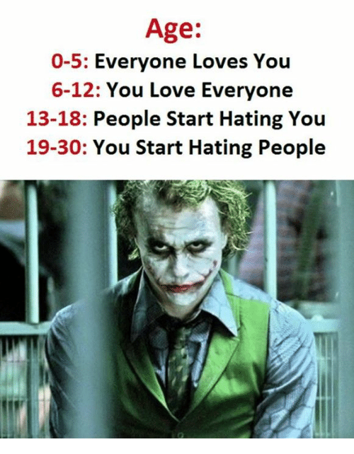 Hating People: Age:  0-5  Everyone Loves You  6-12: You Love Everyone  13-18  People Start Hating You  19-30: You Start Hating People