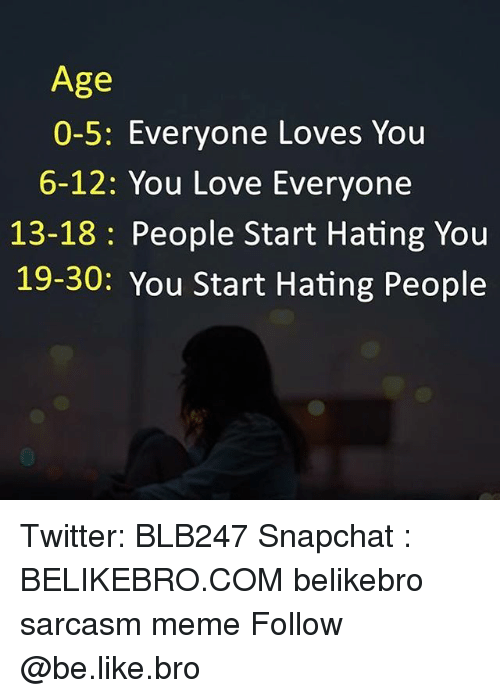 Hating People: Age  0-5: Everyone Loves You  6-12: You Love Everyone  13-18: People Start Hating You  19-30: You Start Hating People Twitter: BLB247 Snapchat : BELIKEBRO.COM belikebro sarcasm meme Follow @be.like.bro