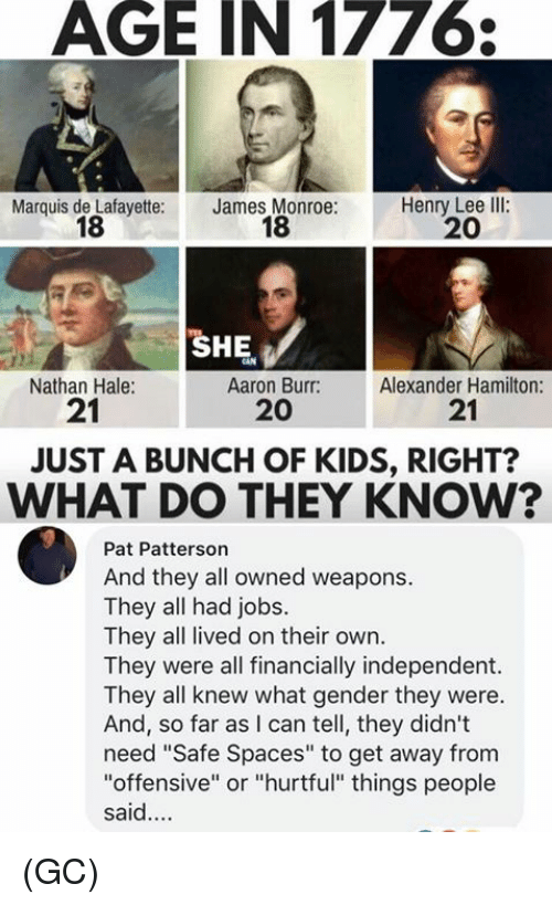 """Alexander Hamilton: AGE IN 1776  Marquis de Lafayette:  18  James Monroe:  18  Henry Lee llI:  20  SHE  Nathan Hale:  21  Aaron Burr:  20  Alexander Hamilton:  21  JUST A BUNCH OF KIDS, RIGHT?  WHAT DO THEY KNOW?  Pat Patterson  And they all owned weapons.  They all had jobs.  They all lived on their own.  They were all financially independent.  They all knew what gender they were.  And, so far as I can tell, they didn't  need """"Safe Spaces"""" to get away from  """"offensive"""" or """"hurtful"""" things people  said. (GC)"""