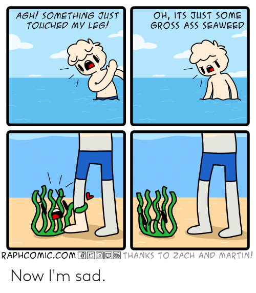 zach and: AGH! SOMETHING JUST  TOUCHED MY LEG!  OH, ITS JUST SOME  GROSS ASS SEAWEED  \ /  RAPHCOMIC.COM O  THANKS TO ZACH AND MARTIN!  WEB  TOON Now I'm sad.