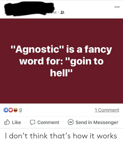 """Agnostic: """"Agnostic"""" isa fancy  word for: """"goin to  hell""""  1 Comment  9  Like  Send in Messenger  Comment I don't think that's how it works"""