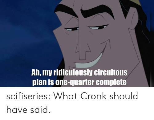 Tumblr, Blog, and Com: Ah, my ridiculously circuitous  plan is one-quarter complete scifiseries:  What Cronk should have said.