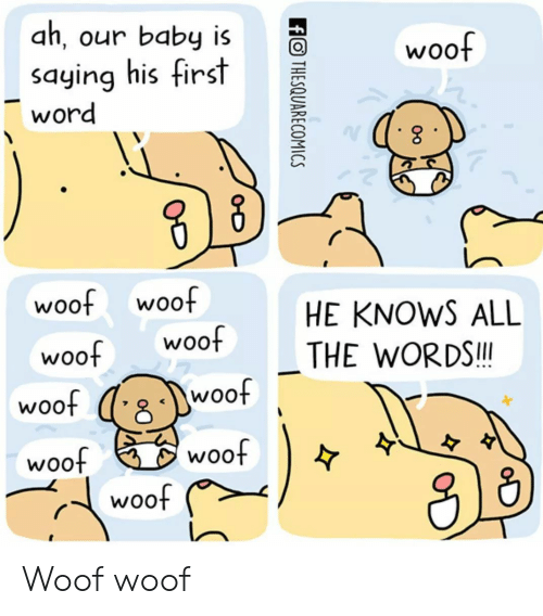 Word, All The, and Baby: ah, our baby is  saying his first  word  woof  woo  woof  HE KNOWS ALL  THE WORDS.I  woof woof  woof (e  woof  woof  woo Woof woof