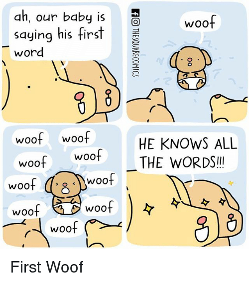 "Memes, Word, and All The: ah, our baby is  saying his first  word  woof woof  woof  woof  woof  woof  woof  WOO  WOO  woof  HE KNOWS ALL  THE WORDS""! First Woof"