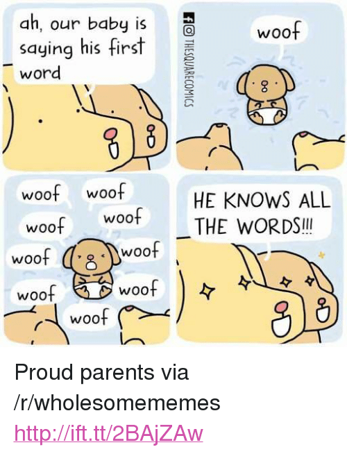 "Parents, Http, and Woot: ah, our baby is  woof  saying his fist  word  8  woof woof  HE KNOWS ALL  woot THE WORDS!  Woo  woof  woof  woof  8  8)  woof <p>Proud parents via /r/wholesomememes <a href=""http://ift.tt/2BAjZAw"">http://ift.tt/2BAjZAw</a></p>"