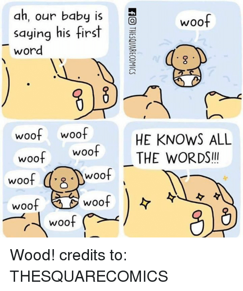 Dank, Woot, and Word: ah, our baby iSo  saying his first  word  woof woof  HE KNOWS ALL  woot THE WORDS!  woo  woof  woof  woof Wood! credits to: THESQUARECOMICS