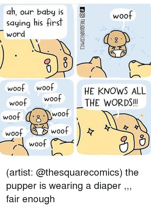 Memes, Woot, and Word: ah, our baby iswoof  saying his first  word  woof woof  HE KNOWS ALL  woot THE WORDS!!  '8 .)woof  woof  woof  woof |ダ (artist: @thesquarecomics) the pupper is wearing a diaper ,,, fair enough
