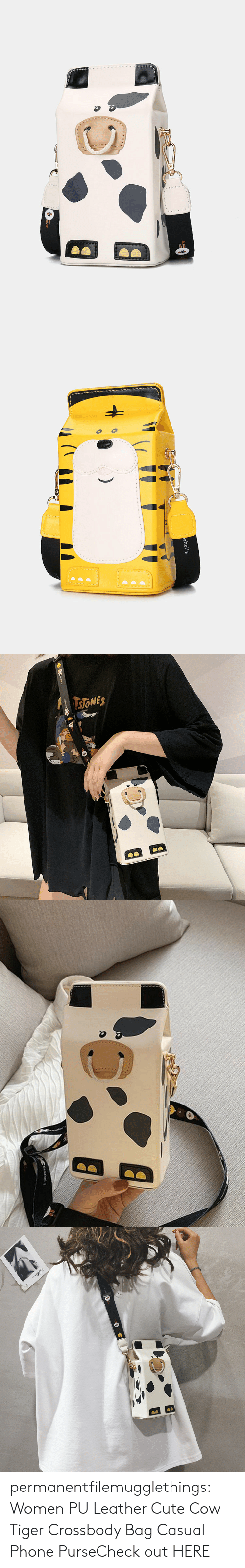 Cute, Phone, and Tumblr: ahei   sONES   Kanahei s   Vaklare permanentfilemugglethings:  Women PU Leather Cute Cow Tiger Crossbody Bag Casual Phone PurseCheck out HERE
