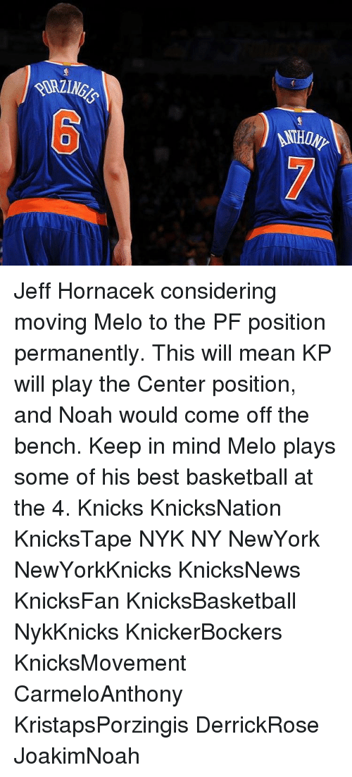 Come Off The Bench: AHONY Jeff Hornacek considering moving Melo to the PF position permanently. This will mean KP will play the Center position, and Noah would come off the bench. Keep in mind Melo plays some of his best basketball at the 4. Knicks KnicksNation KnicksTape NYK NY NewYork NewYorkKnicks KnicksNews KnicksFan KnicksBasketball NykKnicks KnickerBockers KnicksMovement CarmeloAnthony KristapsPorzingis DerrickRose JoakimNoah