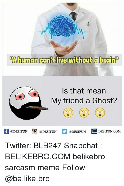 Be Like, Meme, and Memes: Ahuman can't live without a brain  Is that mean  My friend a Ghost?  K @DESIFUN 증@DESIFUN @DESIFUN DESIFUN.COM Twitter: BLB247 Snapchat : BELIKEBRO.COM belikebro sarcasm meme Follow @be.like.bro