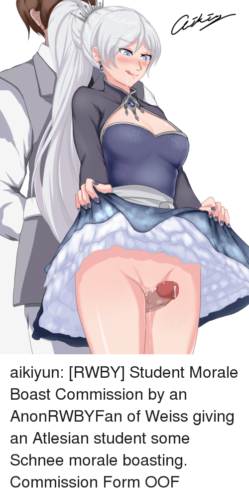 morale: aikiyun: [RWBY] Student Morale Boast Commission by an AnonRWBYFan of Weiss giving an Atlesian student some Schnee morale boasting. Commission Form  OOF