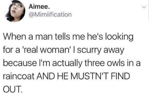 A Real Woman, Looking, and Man: Aimee.  @Mimiification  When a man tells me he's looking  for a 'real woman' I scurry away  because l'm actually three owls in a  raincoat AND HE MUSTN'T FIND  OUT