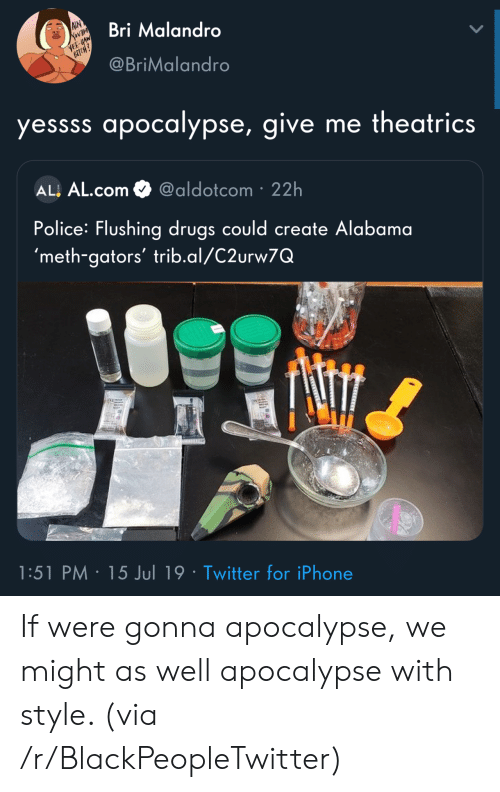 Blackpeopletwitter, Drugs, and Iphone: AIN  Bri Malandro  YEE-HAW  BICH?  @BriMalandro  yessss apocalypse, give me theatrics  ALL AL.com  @aldotcom 22h  Police: Flushing drugs could create Alabama  'meth-gators' trib.al/C2urw7Q  1:51 PM 15 Jul 19 Twitter for iPhone  ST If were gonna apocalypse, we might as well apocalypse with style. (via /r/BlackPeopleTwitter)