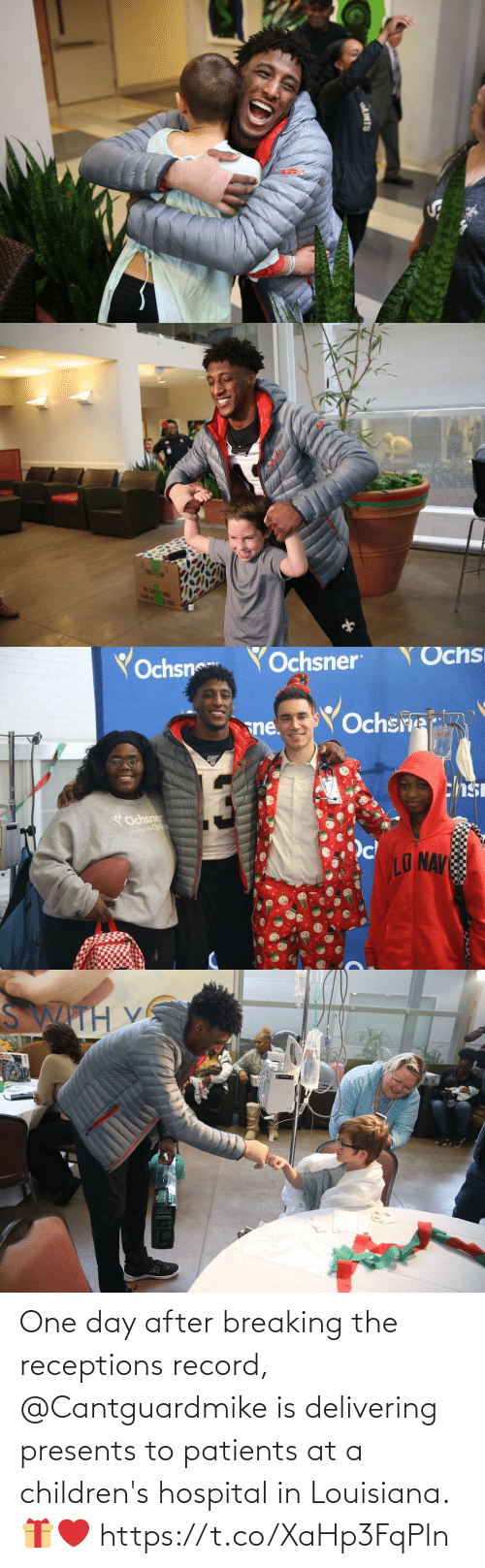 Record: AINTS   TRIS! 1P  FRLE CA T  LENE LA   Yochsn  YOchsner  Ochs  Ochsre  sne.  chsi  YOchsner  Hospai For Childwan  LO NAV   SWITH V One day after breaking the receptions record, @Cantguardmike is delivering presents to patients at a children's hospital in Louisiana. 🎁❤️ https://t.co/XaHp3FqPln