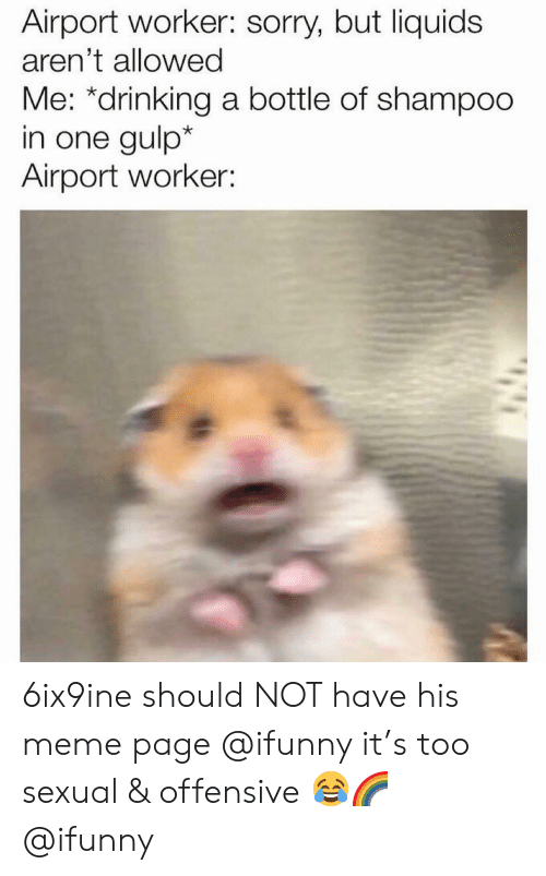 Drinking, Meme, and Memes: Airport worker: sorry, but liquids  aren't allowed  Me: *drinking a bottle of shampoo  in one gulp*  Airport worker 6ix9ine should NOT have his meme page @ifunny it's too sexual & offensive 😂🌈 @ifunny
