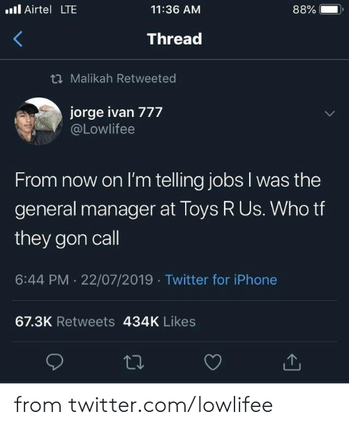 The General: . Airtel LTE  88%  11:36 AM  Thread  t Malikah Retweeted  jorge ivan 777  @Lowlifee  From now on I'm telling jobs I was the  general manager at Toys R Us. Who tf  they gon call  6:44 PM 22/07/2019 Twitter for iPhone  67.3K Retweets 434K Likes from twitter.com/lowlifee