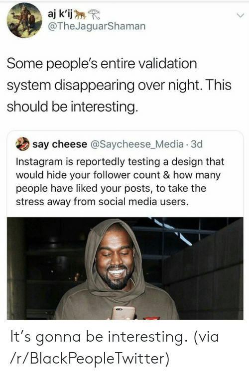 Blackpeopletwitter, Instagram, and Social Media: aj k'ij  @TheJaguarShaman  Some people's entire validation  system disappearing over night. This  should be interesting.  say cheese @Saycheese_Media 3d  Instagram is reportedly testing a design that  would hide your follower count & how many  people have liked your posts, to take the  stress away from social media users. It's gonna be interesting. (via /r/BlackPeopleTwitter)