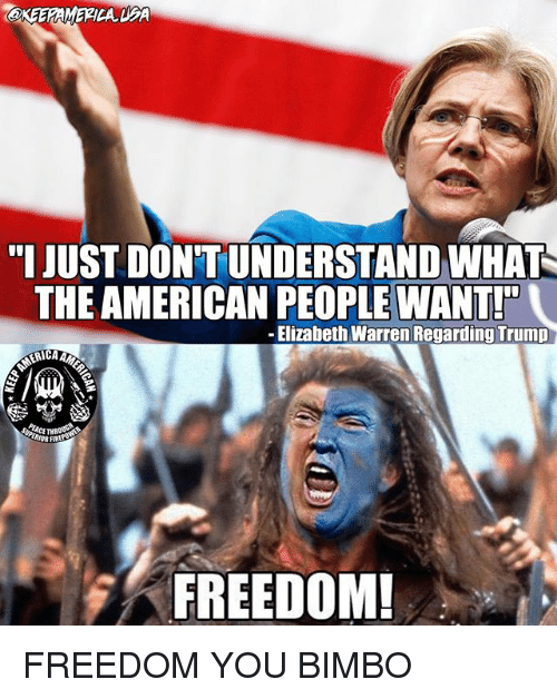 "Elizabeth Warren, Memes, and American: akEERAMERICA DA  "" JUST DON'T UNDERSTAND WHAT  THE AMERICAN PEOPLE WANT!  -Elizabeth Warren Regarding Trump  FREEDOM FREEDOM YOU BIMBO"