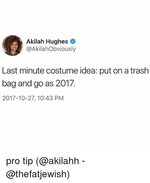 Memes, Trash, and Pro: Akilah Hughes  @AkilahObviously  Last minute costume idea: put on a trash  bag and go as 2017,  2017-10-27, 10:43 PM pro tip (@akilahh - @thefatjewish)