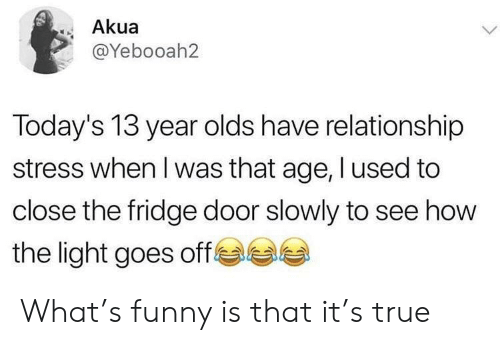 I Used To: Akua  @Yebooah2  Today's 13 year olds have relationship  stress when I was that age, I used to  close the fridge door slowly to see how  e  the light goes off What's funny is that it's true