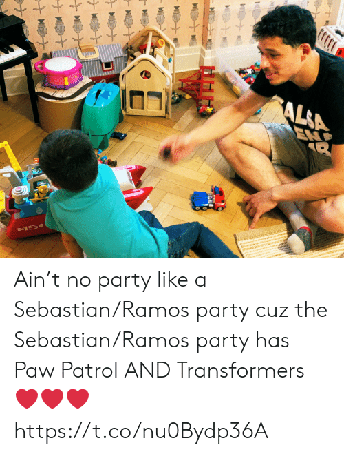 Memes, Party, and Transformers: AL&A  END  &15 Ain't no party like a Sebastian/Ramos party cuz the Sebastian/Ramos party has Paw Patrol AND Transformers ❤️❤️❤️ https://t.co/nu0Bydp36A