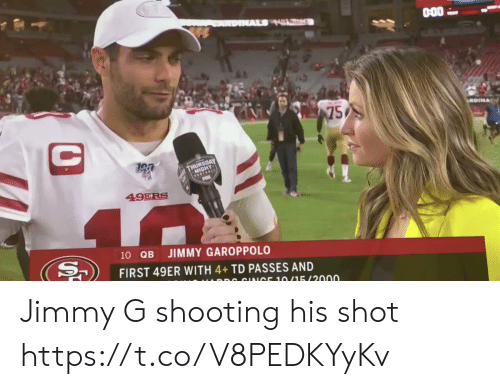 49er: AL HL  75  C  GEOAY  FOTEALE  49ERS  40  10 QB  JIMMY GAROPPOLO  FIRST 49ER WITH 4+TD PASSES AND  DR CINICE 10/15/2000 Jimmy G shooting his shot https://t.co/V8PEDKYyKv