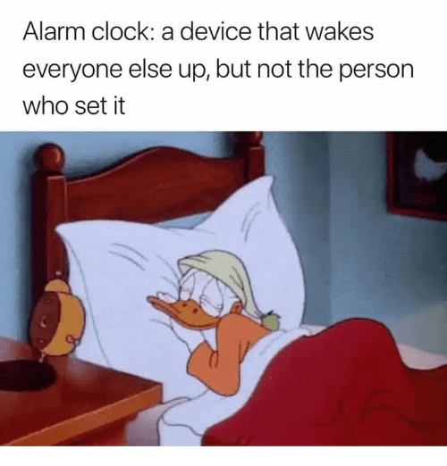 Clock, Alarm, and Alarm Clock: Alarm clock: a device that wakes  everyone else up, but not the person  who set it