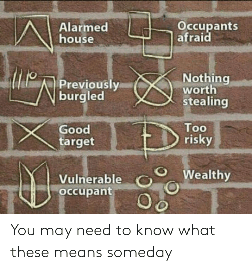 Alarmed: Alarmed  house  Occupants  afraid  Nothing  worth  stealing  Previously  burgled  Good  target  Too  risky  O Wealthy  Vulnerable O  occupant You may need to know what these means someday