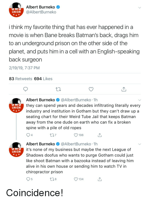 Gotham: Albert Burneko<  @AlbertBurneko  UNION  i think my favorite thing that has ever happened in a  movie is when Bane breaks Batman's back, drags him  to an underground prison on the other side of the  planet, and puts him in a cell with an English-speaking  back surgeon  2/19/19, 7:37 PM  83 Retweets 694 Likes  Albert Burneko @AlbertBurneko 1h  they can spend years and decades infiltrating literally every  industry and institution in Gotham but they can't draw up a  seating chart for their Weird Tube Jail that keeps Batman  away from the one dude on earth who can fix a broken  spine with a pile of old ropes  UNION  7  O 198  4  Albert Burneko @AlbertBurneko 1h  it's none of my business but maybe the next League of  Shadows doofus who wants to purge Gotham could just  like shoot Batman with a bazooka instead of leaving him  alive in his own house or sending him to watch TV in  chiropractor prison  UNION  8  O 134 Coincidence!