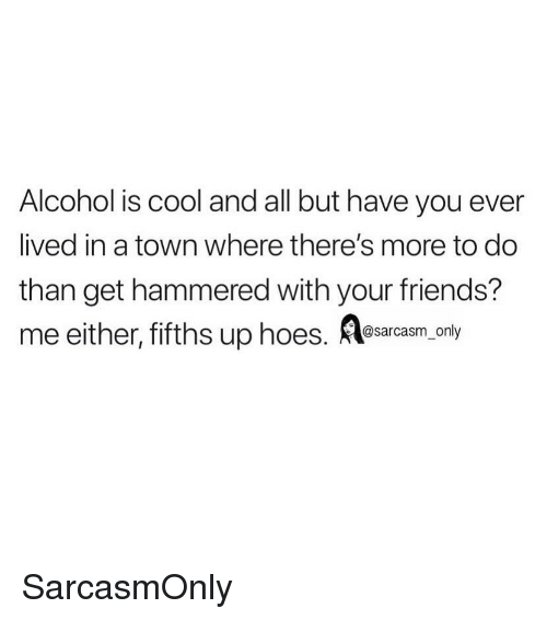 Friends, Funny, and Hoes: Alcohol is cool and all but have you ever  lived in a town where there's more to do  than get hammered with your friends?  me either,fifths up hoes. saa ony SarcasmOnly