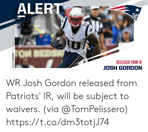 alert: ALERT  PATRADTS  TON REDS  RELEASED FROM IR  JOSH GORDON WR Josh Gordon released from Patriots' IR, will be subject to waivers. (via @TomPelissero) https://t.co/dm3totjJ74
