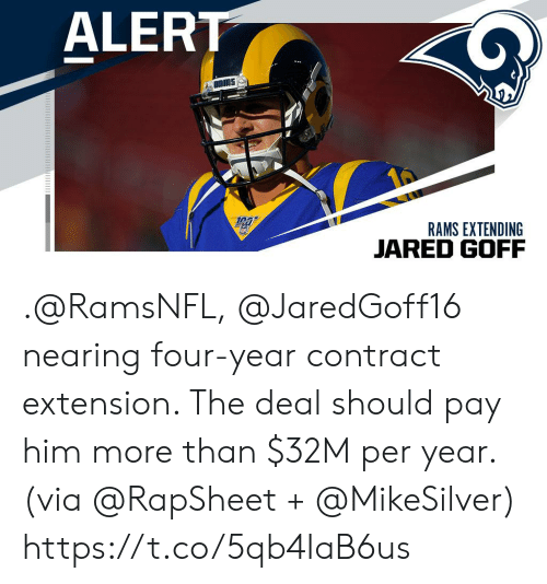 Memes, Jared, and Rams: ALERT  RAMS EXTENDING  JARED GOFF .@RamsNFL, @JaredGoff16 nearing four-year contract extension. The deal should pay him more than $32M per year. (via @RapSheet + @MikeSilver) https://t.co/5qb4IaB6us
