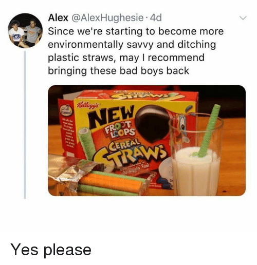 Bad, Bad Boys, and Memes: Alex @AlexHughesie.4d  Since we're starting to become more  environmentally savvy and ditching  plastic straws, may I recommend  bringing these bad boys back  NEW  FROOT  LCOP Yes please