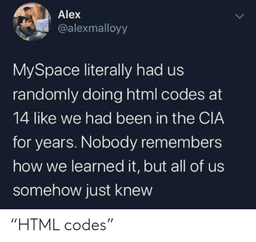 "MySpace, Been, and How: Alex  @alexmalloyy  MySpace literally had us  randomly doing html codes at  14 like we had been in the CIA  for years. Nobody remembers  how we learned it, but all of us  somehow just knew ""HTML codes"""