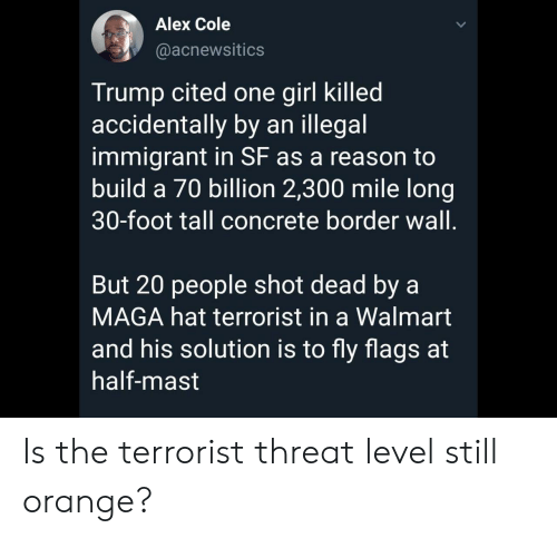Border: Alex Cole  @acnewsitics  Trump cited one girl killed  accidentally by an illegal  immigrant in SF as a reason to  build a 70 billion 2,300 mile long|  30-foot tall concrete border wall.  But 20 people shot dead by a  MAGA hat terrorist in a Walmart  and his solution is to fly flags at  half-mast Is the terrorist threat level still orange?