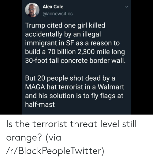 Blackpeopletwitter, Walmart, and Girl: Alex Cole  @acnewsitics  Trump cited one girl killed  accidentally by an illegal  immigrant in SF as a reason to  build a 70 billion 2,300 mile long  30-foot tall concrete border wall.  But 20 people shot dead by a  MAGA hat terrorist in a Walmart  and his solution is to fly flags at  half-mast Is the terrorist threat level still orange? (via /r/BlackPeopleTwitter)