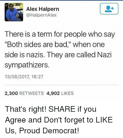 """Nazy: Alex Halpern  @HalpernAlex  There is a term for people who say  """"Both sides are bad,"""" when one  side is nazis. They are called Nazi  sympathizers.  13/08/2017, 16:27  2,300 RETWEETS 4,902 LIKES That's right!  SHARE if you Agree and Don't forget to LIKE Us, Proud Democrat!"""