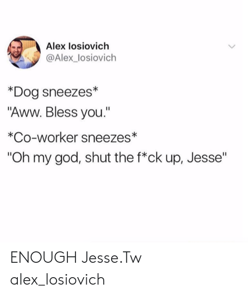 "Aww, God, and Oh My God: Alex losiovich  @Alex_losiovich  *Dog sneezes*  ""Aww. Bless you.""  *Co-worker sneezes  ""Oh my god, shut the f*ck up, Jesse"" ENOUGH Jesse.Tw alex_losiovich"