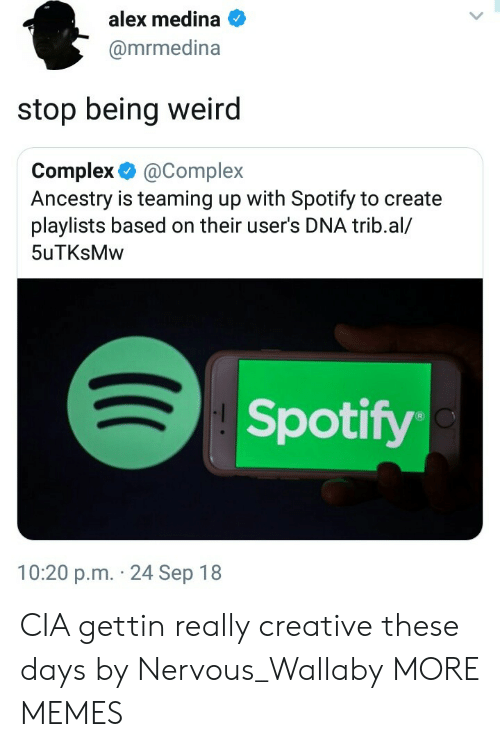 Being Weird, Complex, and Dank: alex medina  @mrmedina  stop being weird  Complex &@Complex  Ancestry is teaming up with Spotify to create  playlists based on their user's DNA trib.al/  5uTKsMw  Spotify  10:20 p.m. 24 Sep 18 CIA gettin really creative these days by Nervous_Wallaby MORE MEMES