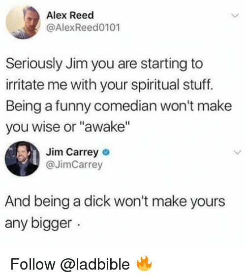 """irritate: Alex Reed  @AlexReed0101  Seriously Jim you are starting to  irritate me with your spiritual stuff.  Being a funny comedian won't make  you wise or """"awake""""  Jim Carrey o  @JimCarrey  And being a dick won't make yours  any bigger Follow @ladbible 🔥"""