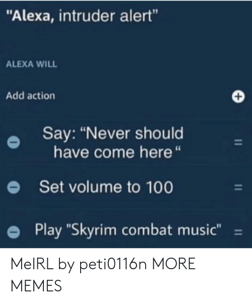 """Alexa Intruder Alert: """"Alexa, intruder alert""""  ALEXA WILL  Add action  Say: """"Never should  have come here """"  Set volume to 100  Play """"Skyrim combat music"""" = MeIRL by peti0116n MORE MEMES"""