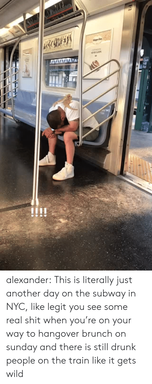 Drunk, Shit, and Subway: alexander:  This is literally just another day on the subway in NYC, like legit you see some real shit when you're on your way to hangover brunch on sunday and there is still drunk people on the train like it gets wild
