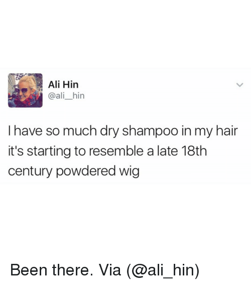 Resemblant: Ali Hin  @ali hin  I have so much dry shampoo in my hair  it's starting to resemble a late 18th  century powdered wig Been there. Via (@ali_hin)
