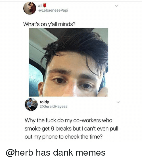Danks: ali  @LebaenesePapi  What's on y'all minds?  roldy  @GeraldHayess  Why the fuck do my co-workers who  smoke get 9 breaks but I can't even pull  out my phone to check the time? @herb has dank memes