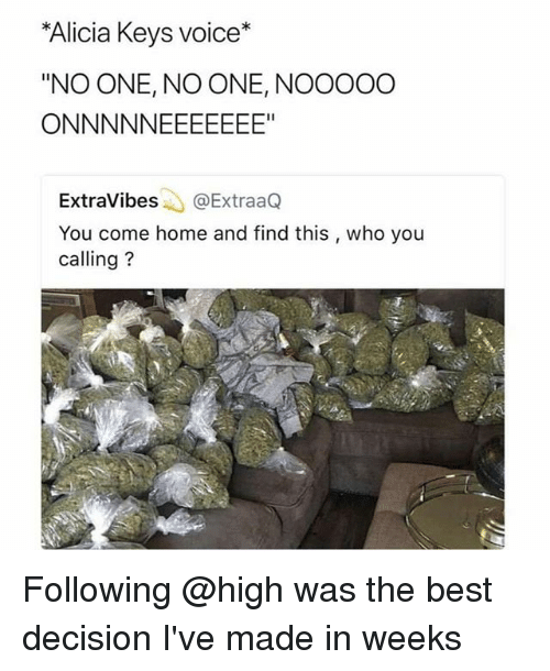 """Alicia Keys: Alicia Keys voice*  """"NO ONE, NO ONE, NOOOOO  ExtraVibes@ExtraaQ  You come home and find this , who you  calling? Following @high was the best decision I've made in weeks"""