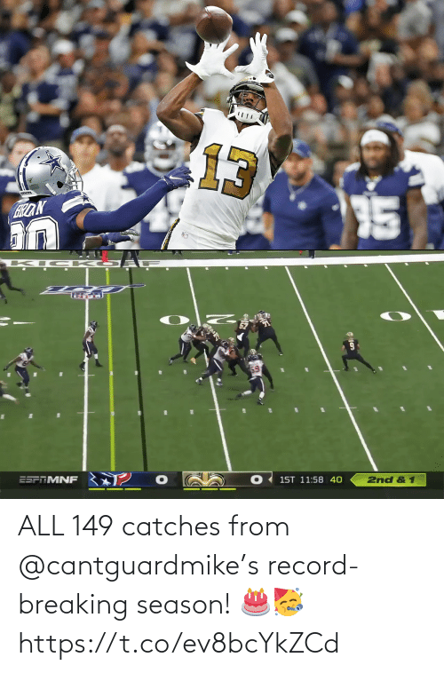 Record: ALL 149 catches from @cantguardmike's record-breaking season! 🎂🥳 https://t.co/ev8bcYkZCd