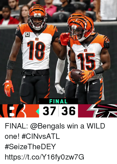 Memes, Bengals, and Wild: ALL  18  15  FINAL  37 36 FINAL: @Bengals win a WILD one! #CINvsATL #SeizeTheDEY https://t.co/Y16fy0zw7G