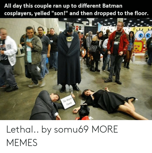 "cosplayers: All day this couple ran up to different Batmarn  cosplayers, yelled ""son!"" and then dropped to the floor.  The  Family Lethal.. by somu69 MORE MEMES"